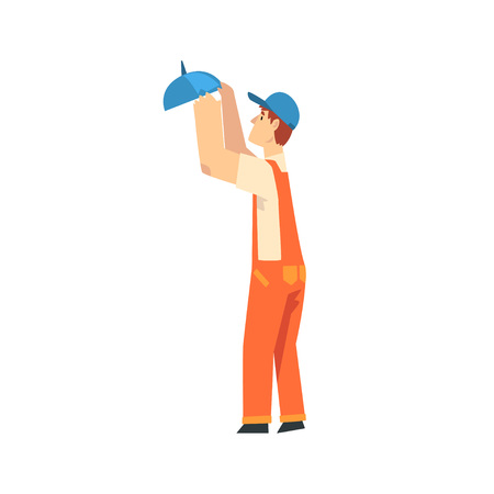 Professional Electrician Screwing Lamp, Male Construction Worker Character in Orange Overalls and Blue Cap with Equipment Vector Illustration on White Background.