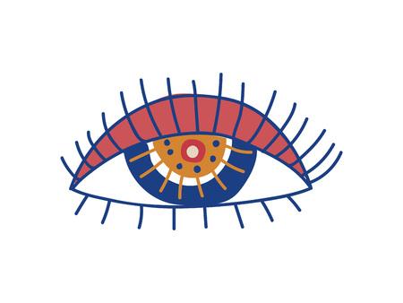 Eye, Boho Style Design Element, Ethnic, Mystic Symbol Vector Illustration on White Background.