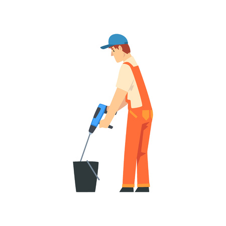 Builder Mixing Cement with Construction Mixer, Male Construction Worker Character in Orange Overalls and Blue Cap with Professional Equipment Vector Illustration on White Background.