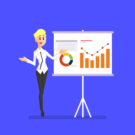 Smiling Businesswoman Explaining Information Graphics on Flip Chart, Female Office Character Vector Illustration in Cartoon Style.