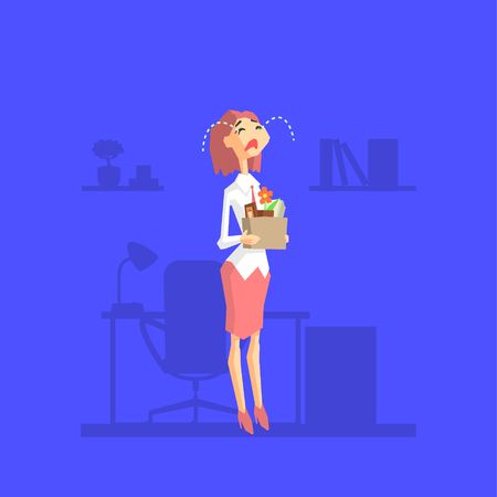 Crying Woman Standing with Box of Personal Belongings, Business Woman Dismissed from Work, Office Worker Character Fired From Job Vector Illustration in Cartoon Style.