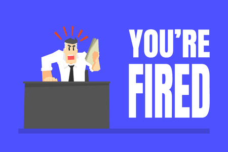You Are Fired Banner, Angry Boss Office Character Dismissing Worker Vector Illustration in Cartoon Style. Иллюстрация