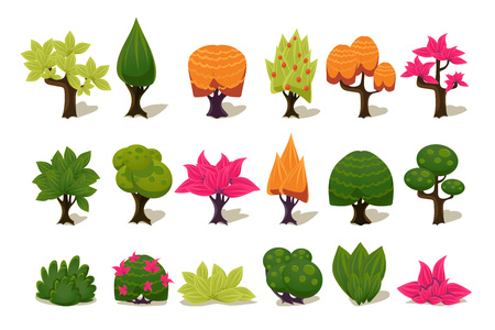 Colorful fantasy tree and plants, nature details for computers game interface vector Illustrations isolated on a white background.