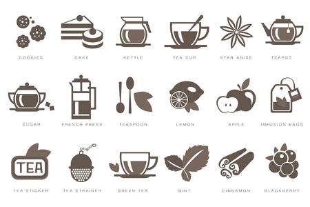 Set de iconos lineales de la hora del té, galleta, pastel, hervidor, taza, azúcar, prensa francesa, cucharadita, limón, manzana, bolsa de infusión, colador negro vector ilustraciones