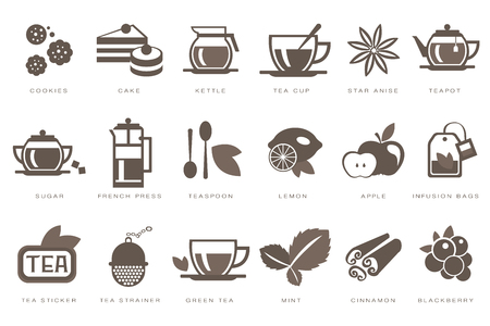 Tea time linear icons set, cookie, cake, kettle, cup, sugar, french press, teaspoon, lemon, apple, infusion bag, strainer black vector Illustrations Ilustração