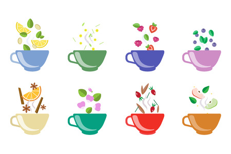 Cups of herbal tea set, fruit and berry tea vector Illustrations on a white background