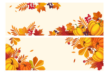 Thanksgiving background with space for text, horizontal banners with autumn leaves and pumpkins, berries of rowan and aronia vector Illustration, web design