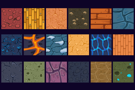 Ground concrete stone texture patterns set vector Illustrations, web design Çizim