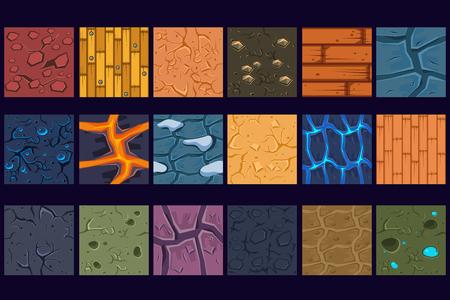 Reticoli di struttura di pietra concreta macinata impostare illustrazioni vettoriali, web design