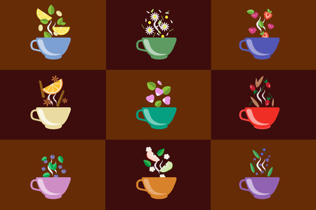 Cups of herbal tea set, fruit and berry tea vector Illustrations in flat style