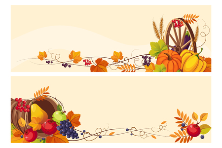 Thanksgiving background with space for text, horizontal banners with autumn grape leaves, pumpkins, fruit and vegetables vector Illustration, web design Vettoriali