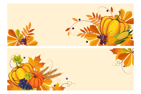 Thanksgiving background with space for text, horizontal banners with autumn leaves, pumpkins, chokeberry vector Illustration, web design