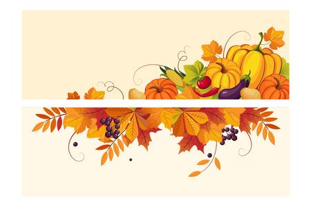 Fondo de acción de gracias con espacio para texto, banners horizontales con hojas de otoño y verduras ilustración vectorial, diseño web