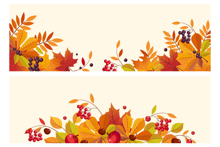 Thanksgiving background with space for text, horizontal banners with autumn leaves and berries vector Illustration, web design