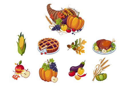 Traditional symbols of Thanksgiving day set, autumn cornucopia with vegetables vector Illustration on a white background