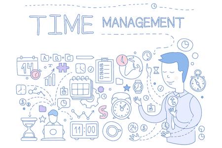 Zestaw do zarządzania czasem, ręcznie rysowane elementy planowania biznesowego na baner, plakat, broszura, ulotka, reklama wektor ilustracja na białym tle. Ilustracje wektorowe