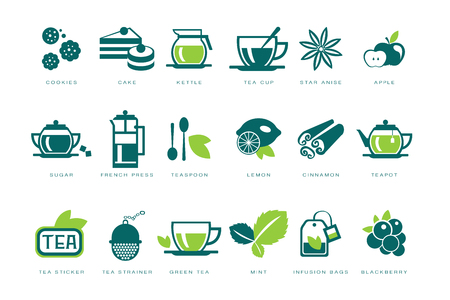 Tea time icons set, cookie, cake, kettle, cup, sugar, french press, teaspoon, lemon, infusion bag, strainer linear vector Illustrations Ilustração