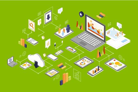 Diversi dispositivi collegati, tecnologia e social media, elaborazione di reti di computer vector Illustration Vettoriali