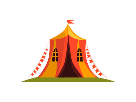 Vintage Circus Tent with Flags Cartoon Vector Illustration on White Background.