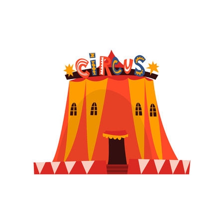 Big Circus Marquee Tent with Flags Cartoon Vector Illustration on White Background.
