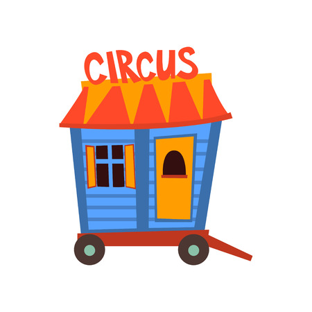 Circus Trailer, Wagon Wheel Cartoon Vector Illustration on White Background.