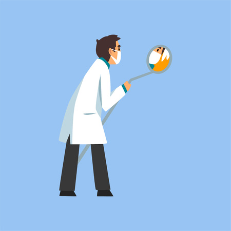 Male Professional Doctor Character with Dental Mirror, Dentist of Medical Clinic or Hospital in White Lab Coat and Mask Vector Illustration on Light Blue Background. Illusztráció
