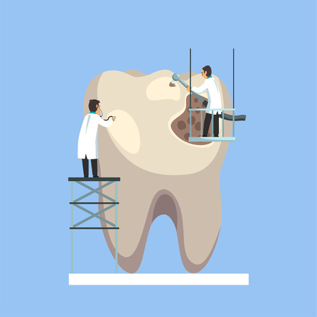 Two Small Male Doctors Treating and Cleaning Giant Unhealthy Tooth Vector Illustration on Light Blue Background.