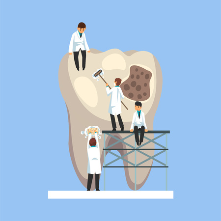 Small Male Doctors Treating Caries Hole on Giant Unhealthy Tooth Vector Illustration on Light Blue Background. Illustration