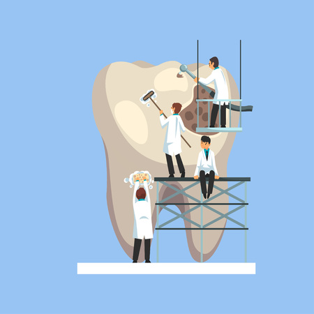 Small Male Doctors Cleaning and Treating Giant Unhealthy Tooth with Plaque and Caries Hole Vector Illustration on Light Blue Background.