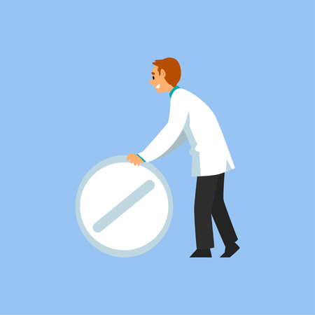Male Professional Doctor Character with Big Pill, Worker of Medical Clinic or Hospital in White Lab Coat Vector Illustration on Light Blue Background.