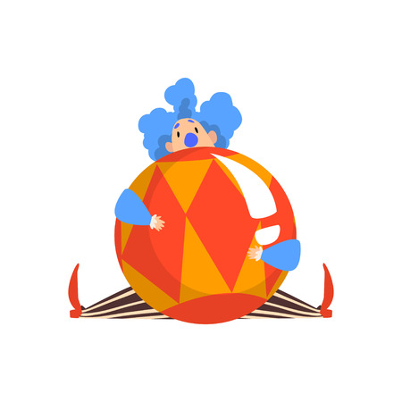 Funny Clown Sitting with Big Ball, Actor Performing in Circus Show Cartoon Vector Illustration on White Background.