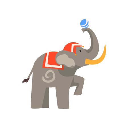 Elephant Animal Performing in Circus Show with Ball Cartoon Vector Illustration on White Background.