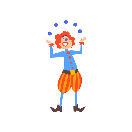 Happy Clown Juggling with Balls in Circus Show Cartoon Vector Illustration on White Background. Vectores
