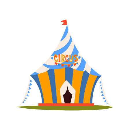 Striped Circus Tent with Flag, Circus Show Element Cartoon Vector Illustration on White Background.