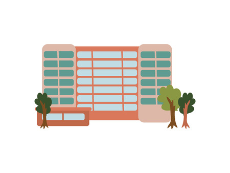 City Public Building, Urban Architecture Design Element Vector Illustration on White Background.