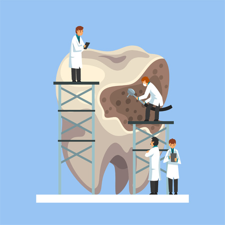 Small Male Doctors in White Lab Coats Treating Giant Unhealthy Tooth with Caries Dental Problems Vector Illustration on Light Blue Background. Illustration