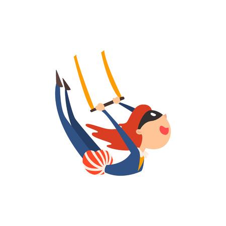 Gymnaste aérienne Acrobat Performing in Circus Show Cartoon Vector Illustration sur fond blanc. Vecteurs