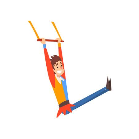 Acróbata de gimnasta aérea de hombre sonriente actuando en el espectáculo de circo ilustración vectorial de dibujos animados sobre fondo blanco.
