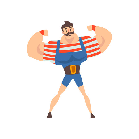 Strong Man Performing in Circus Show, Mustached Muscular Athlete Cartoon Vector Illustration on White Background.