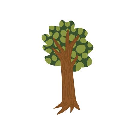 Green Summer Tree, Urban Architecture Design Element Cartoon Vector Illustration on White Background.
