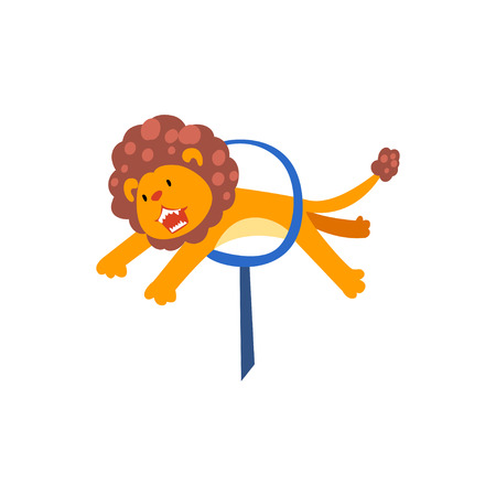 Lion Jumping Through Ring, Cute Animal Performing in Circus Show Cartoon Vector Illustration on White Background.