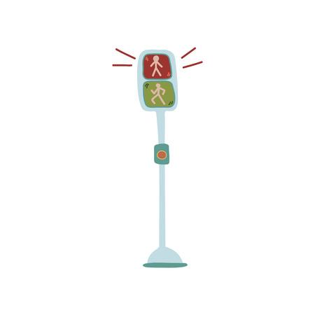 Pedestrian Traffic Lights, Urban Architecture Design Element Vector Illustration on White Background. Stock Vector - 120236559