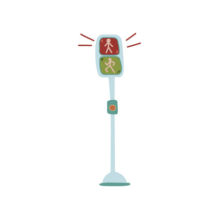 Pedestrian Traffic Lights, Urban Architecture Design Element Vector Illustration on White Background. Illustration