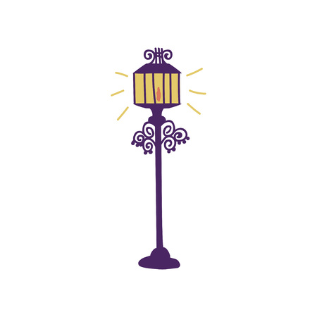 Streetlight, Lamppost Urban Architecture Design Element Cartoon Vector Illustration on White Background.