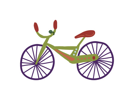 Bike City Street Design Element Cartoon Vector Illustration on White Background.