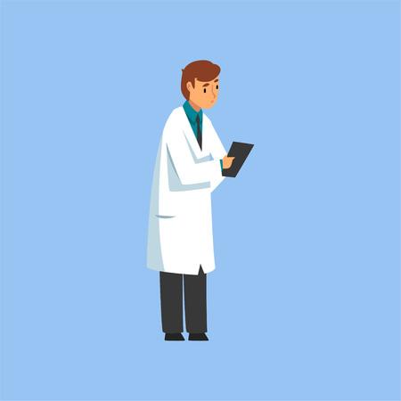 Männlicher Berufsarztcharakter mit Zwischenablage, Arbeiter der medizinischen Klinik oder des Krankenhauses in der weißen Laborkittel-Vektor-Illustration auf hellblauem Hintergrund.