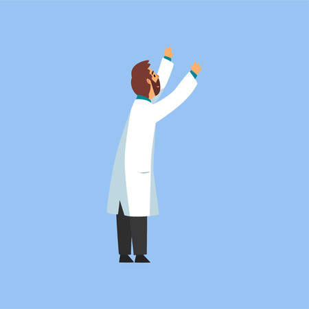 Male Professional Doctor Character Standing with Arms Raised, Worker of Medical Clinic or Hospital in White Lab Coat and Mask Vector Illustration on Light Blue Background.