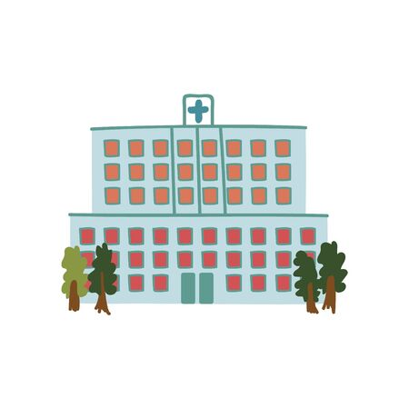 Hospital Public City Building, Front View Cartoon Vector Illustration Ilustração