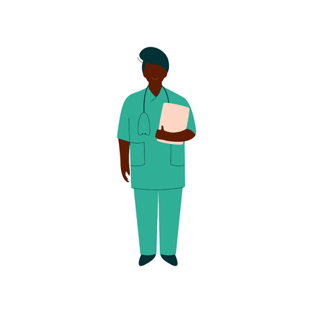 Professional African American Doctor Character with Stethoscope, Female Worker of Medical Clinic or Hospital in Uniform Vector Illustration on White Background.