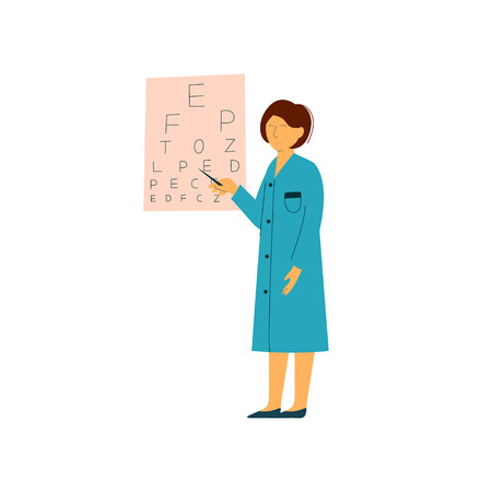 Ophthalmologist Doctor Character Pointing at Eye Chart, Worker of Medical Clinic or Hospital in Uniform Vector Illustration on White Background. Ilustrace
